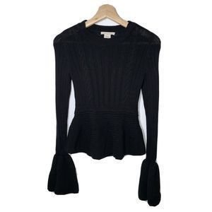 Urban Outfitters Black Knit Top With Bell Sleeves